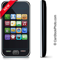 touchscreen mobile phone with icons