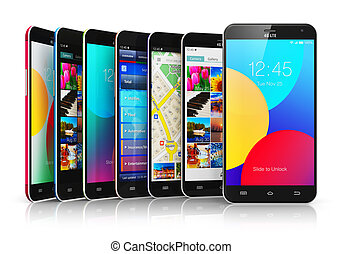 touchscreen, moderne, collection, smartphones