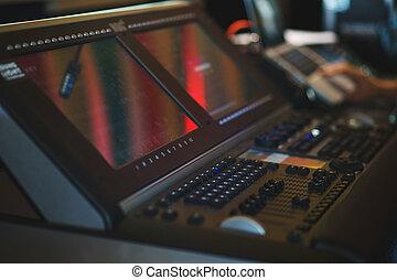 touchscreen, moderno, screen., grande, apparecchiatura, lcd