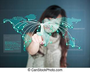 touchscreen, -, mostra, futuristico, worldmap