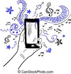 touchscreen, muzyka, rys, ręka