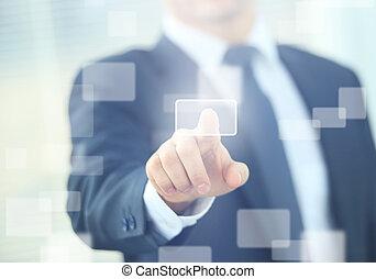 touchscreen, naléhavý přišít knoflík, člověk obchodního...