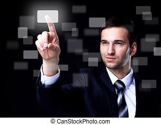 touchscreen, negócio, botão, escuro, apertando, fundo, homem