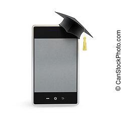 touchscreen phone in the graduation cap