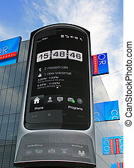 Touchscreen phone on a HD billboard
