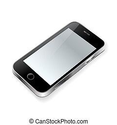 touchscreen phone on white
