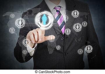 touchscreen, réseau, futuriste, social
