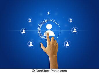 touchscreen, rete, sociale