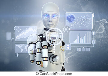 touchscreen, robot, lavorativo