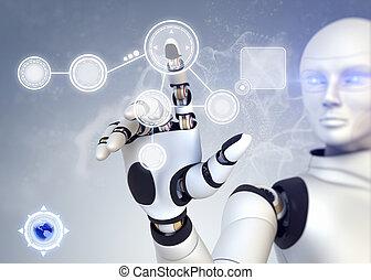 touchscreen, robot, trabajando