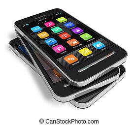 touchscreen, sæt, smartphones