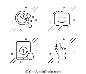 touchscreen, set., テスト, 微笑, 印。, ベクトル, の上, 顔, アイコン, ビジョン, 強打, ジェスチャー