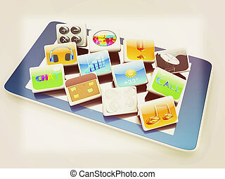 Touchscreen Smart Phone with Cloud of Media Application Icons . 3D illustration. Vintage style.