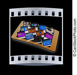 Touchscreen Smart Phone with Cloud of Media Application Icons. The film strip