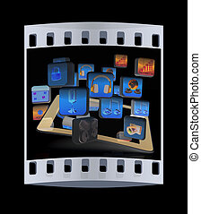 Touchscreen Smart Phone with Cloud of Media Application Icons . The film strip