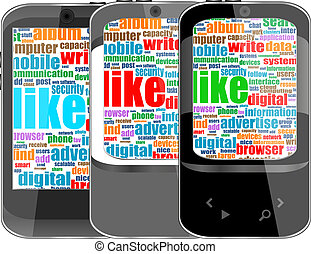 Touchscreen smart phone with social word cloud isolated on white background