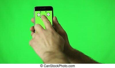 touchscreen, smartphone, écran, swipe, main, gestes, diffusion, vert, robinet