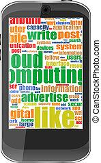 touchscreen, smartphone, 単語, 隔離された, 社会, 白い雲
