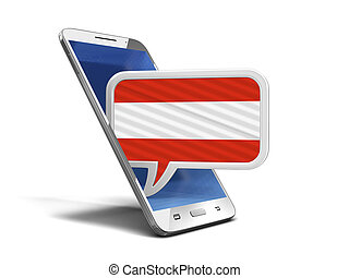 Touchscreen smartphone and Speech bubble with Austrian flag. Image with clipping path