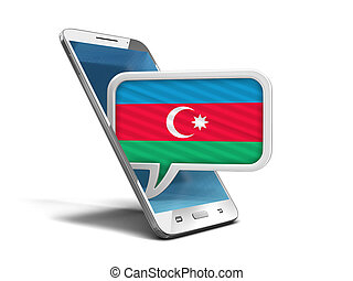 Touchscreen smartphone and Speech bubble with Azerbaijan flag. Image with clipping path