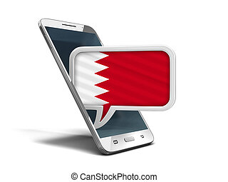 Touchscreen smartphone and Speech bubble with Bahrain flag. Image with clipping path