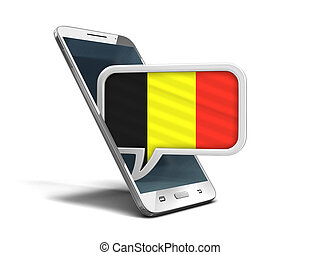 Touchscreen smartphone and Speech bubble with Belgian flag. Image with clipping path