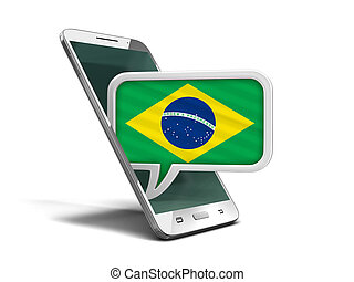 Touchscreen smartphone and Speech bubble with Brazilian flag. Image with clipping path
