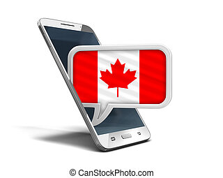 Touchscreen smartphone and Speech bubble with Canadian flag. Image with clipping path