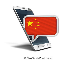 Touchscreen smartphone and Speech bubble with Chinese flag. Image with clipping path