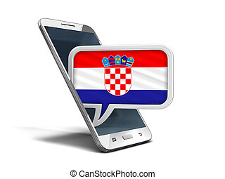Touchscreen smartphone and Speech bubble with Croatian flag. Image with clipping path