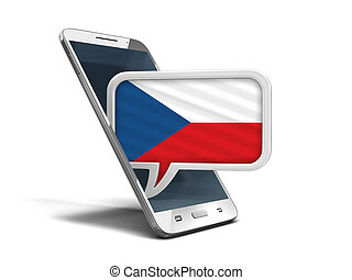 Touchscreen smartphone and Speech bubble with Czech flag. Image with clipping path