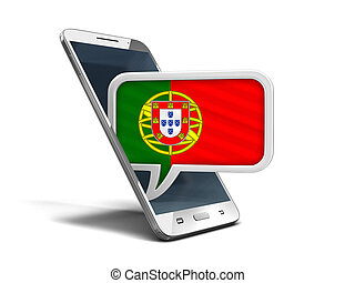 Touchscreen smartphone and Speech bubble with Portuguese flag. Image with clipping path
