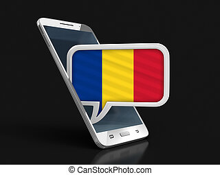 Touchscreen smartphone and Speech bubble with Romanian flag. Image with clipping path