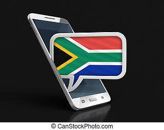 Touchscreen smartphone and Speech bubble with South African republic flag. Image with clipping path
