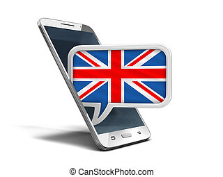 Touchscreen smartphone and Speech bubble with UK flag. Image with clipping path