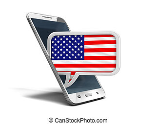 Touchscreen smartphone and Speech bubble with USA flag. Image with clipping path