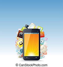 touchscreen, smartphone, apps, chmura, ikony