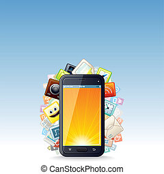 touchscreen, smartphone, apps, nuvola, icone