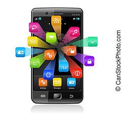 touchscreen, smartphone, con, aplicación, iconos