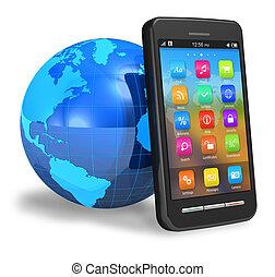 touchscreen, smartphone, mit, erde