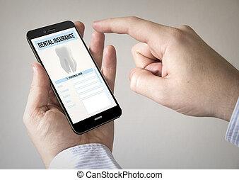 touchscreen, smartphone, noha, fogászati biztosítás, képben látható, a, ellenző