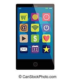 touchscreen, smartphone, noir
