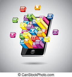 touchscreen, smartphone, vektor, abbildung