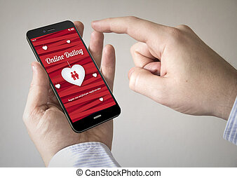 touchscreen smartphone with online dating on the screen