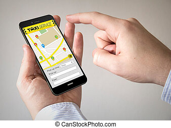 touchscreen smartphone with taxi application on the screen