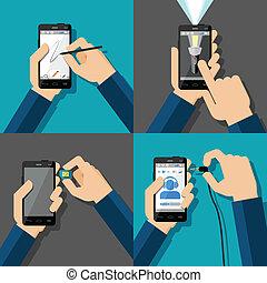 touchscreen, smartphones, halten hände