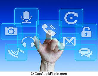 touchscreen, spinta, bottone, mano