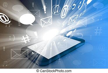 touchscreen, téléchargement, apps, nuage, calculer