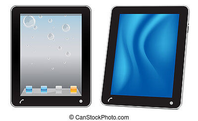 Touchscreen tablet computer, vector illustration