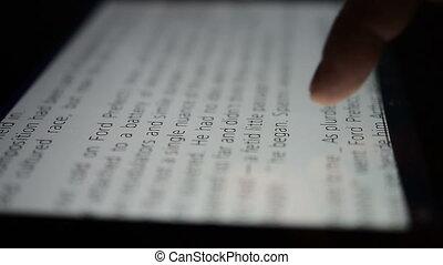 touchscreen, tablette, toucher, informatique, closeup, doigt